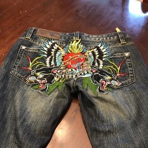 Christian Audiger embroidered dear jeans
